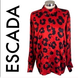 👑 ESCADA LEOPARD SILK BLOUSE 💯AUTHENTIC